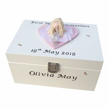 Personalised First Holy Communion Wooden Jewellery Box