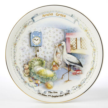 traditional personalised china birth plate new baby gift born gifted
