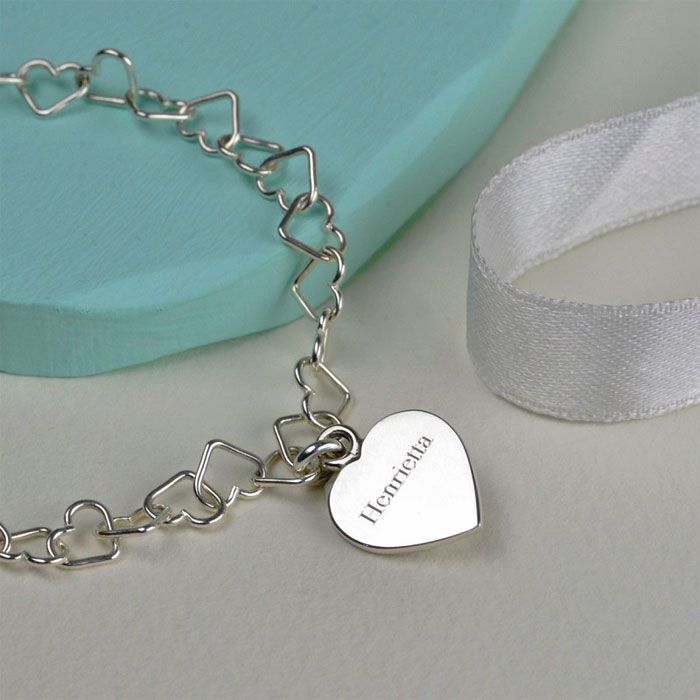 Solid Silver Linked Heart Bracelet by Tales From The Earth