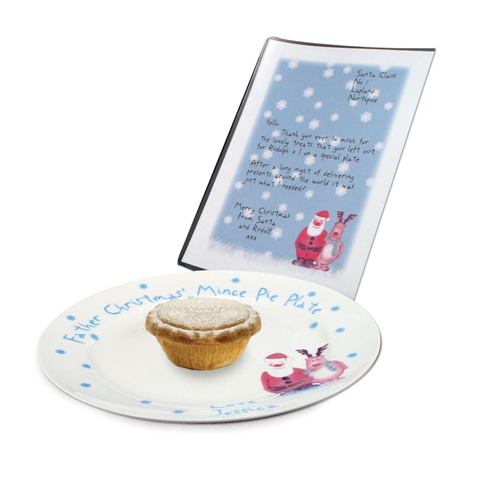 Personalised Santas Mince Pie Plate and Letter