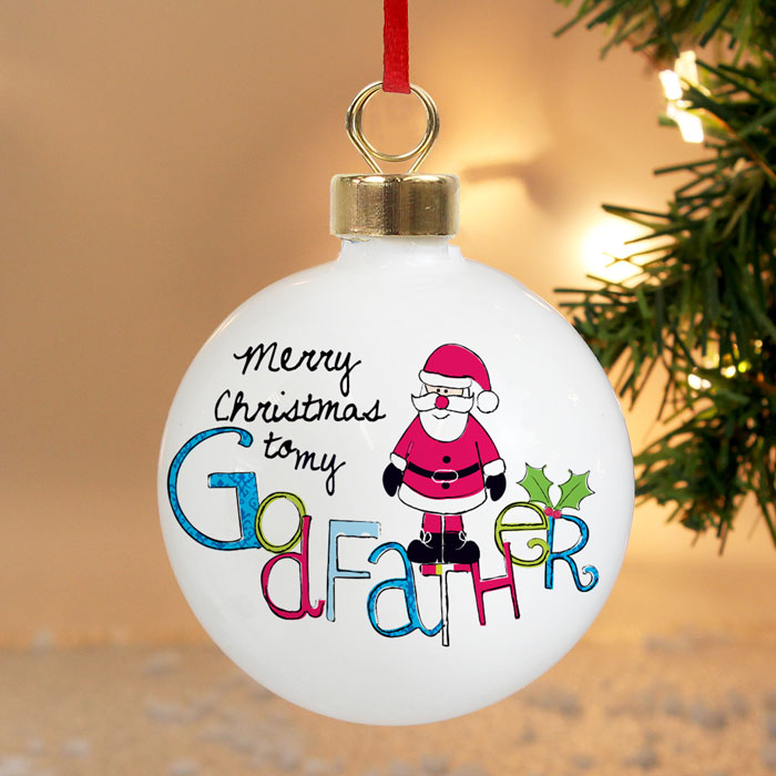 Exclusive Godfather Personalised Christmas Tree Bauble