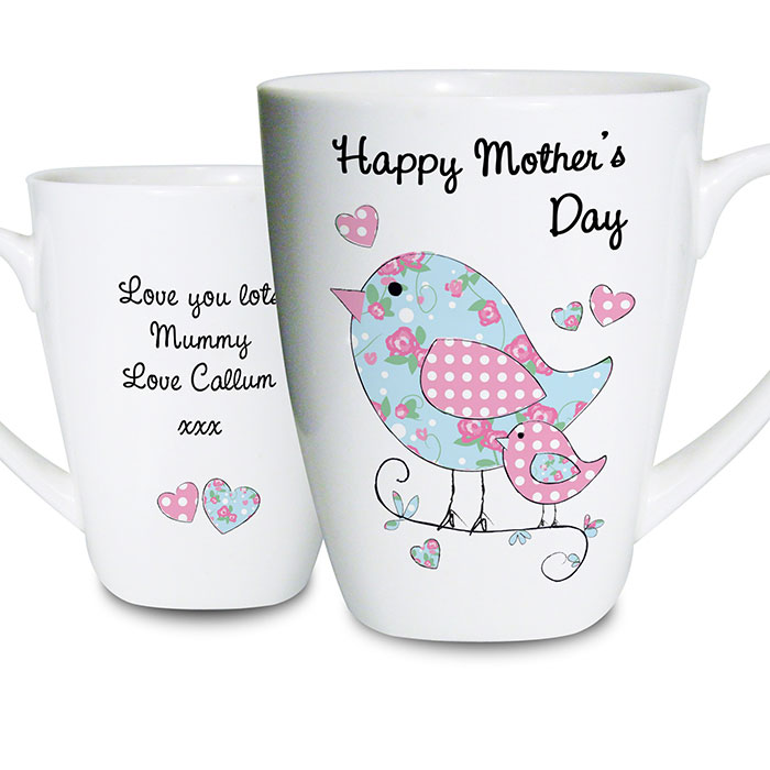 Floral Birds Personalised Latte Mug Any Message