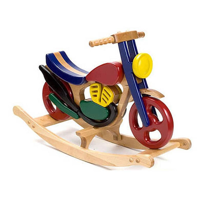 Kid's Colourful Wooden Painted Beech Rocking Motorbike Toy