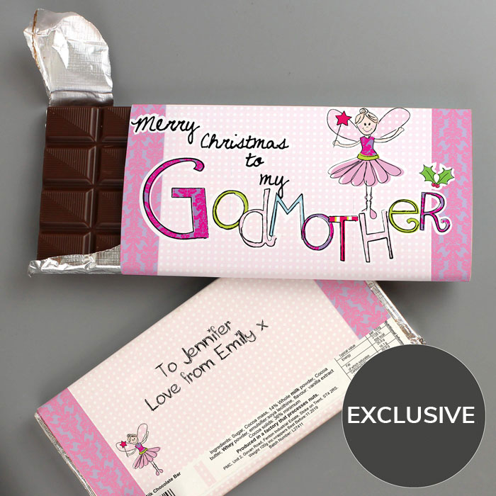 Exclusive Godmother Personalised Christmas Chocolate Bar