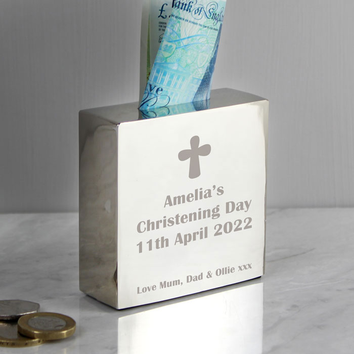 Engraved Money Box featuring a Cross