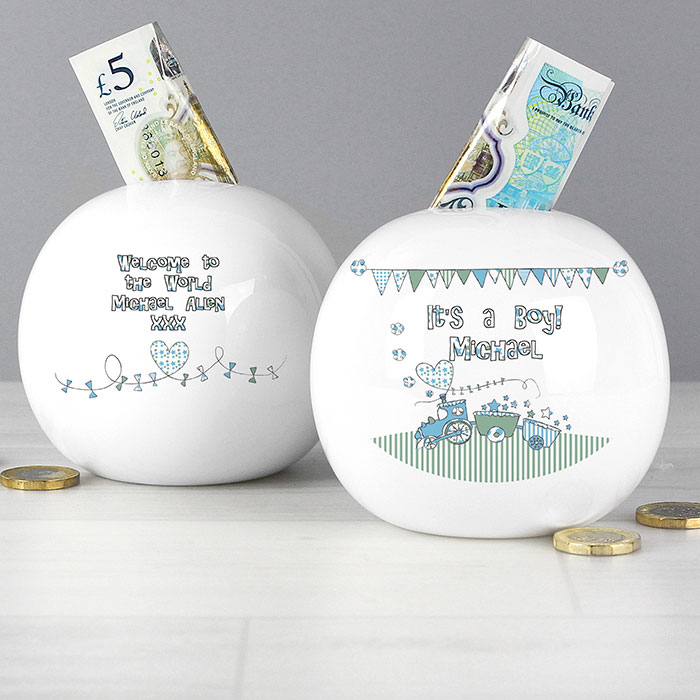 Whimsical Train Its a Boy Personalised Money Box