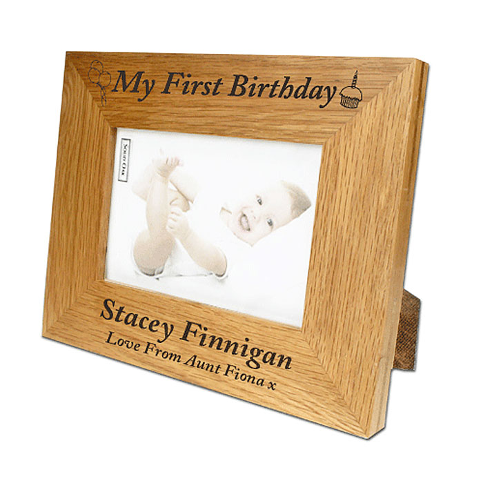 First Birthday Personalised Oak Photo Frame