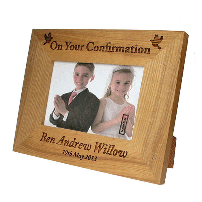 Laser Engraved Confirmation Oak Photo Frame