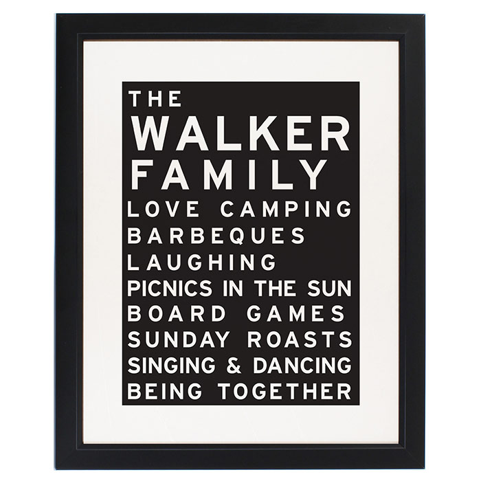 Typography Framed Personalised Family Print