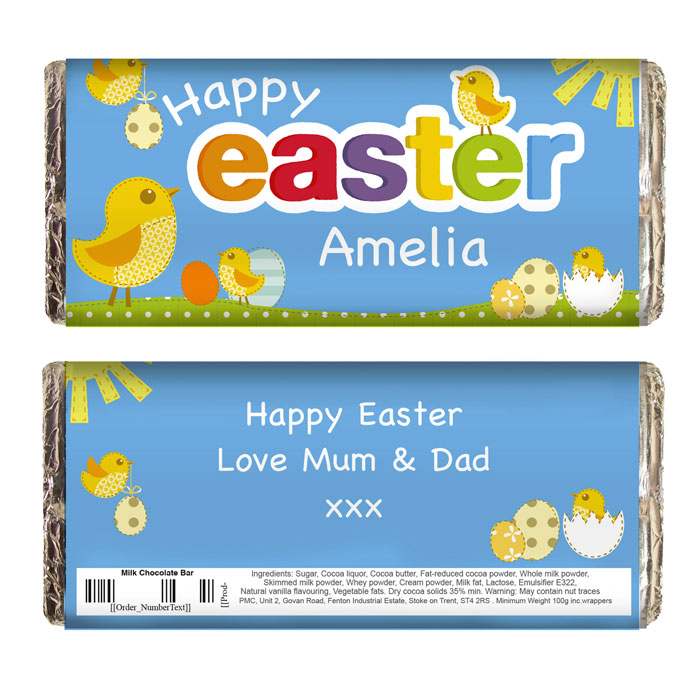 Personalised Easter Chick Chocolate Bar