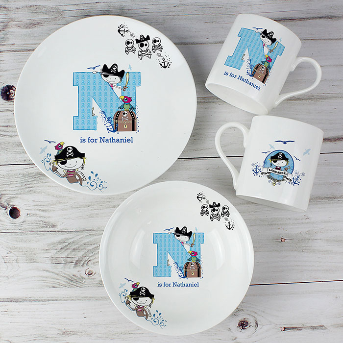 Personalised Pirate Letter China Breakfast Set