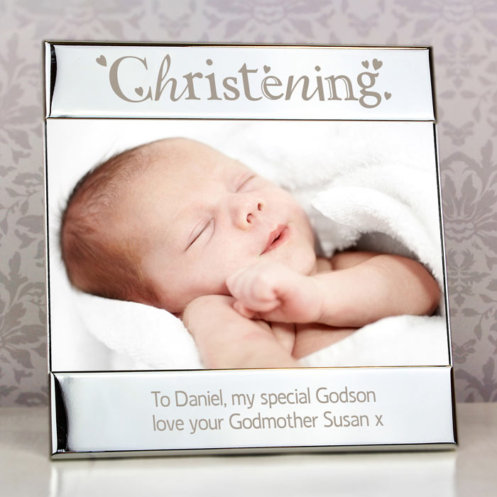Personalised Silver Christening Square 6x4 Inch Photo Frame