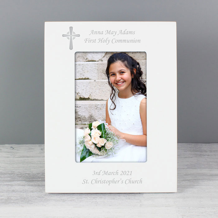 Personalised White Photo Frame With Cross 6x4 inch