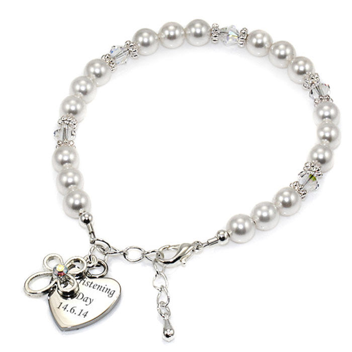 Pearl Bracelet With Engraved Heart and Cross