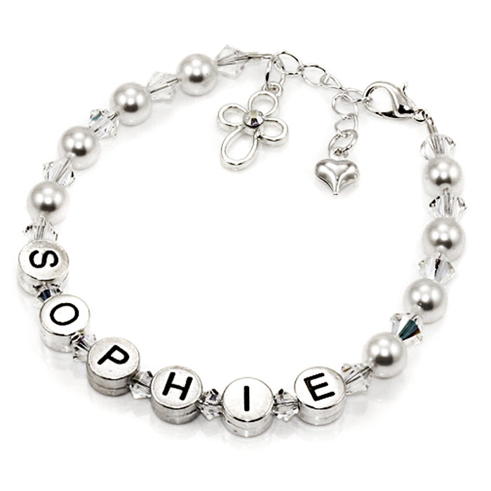 Girl's Personalised Pewter and Pearls Name Bracelet