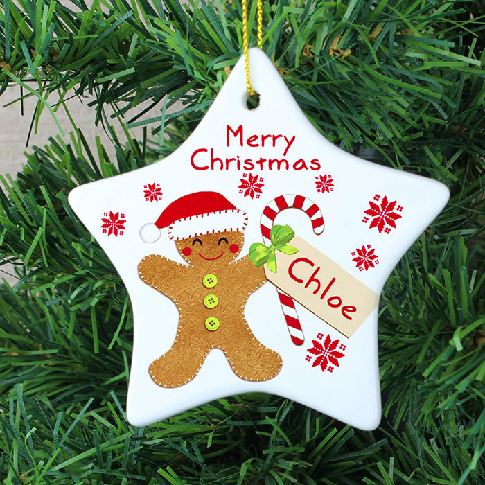 Felt Stitch Gingerbread Man Ceramic Star Decoration