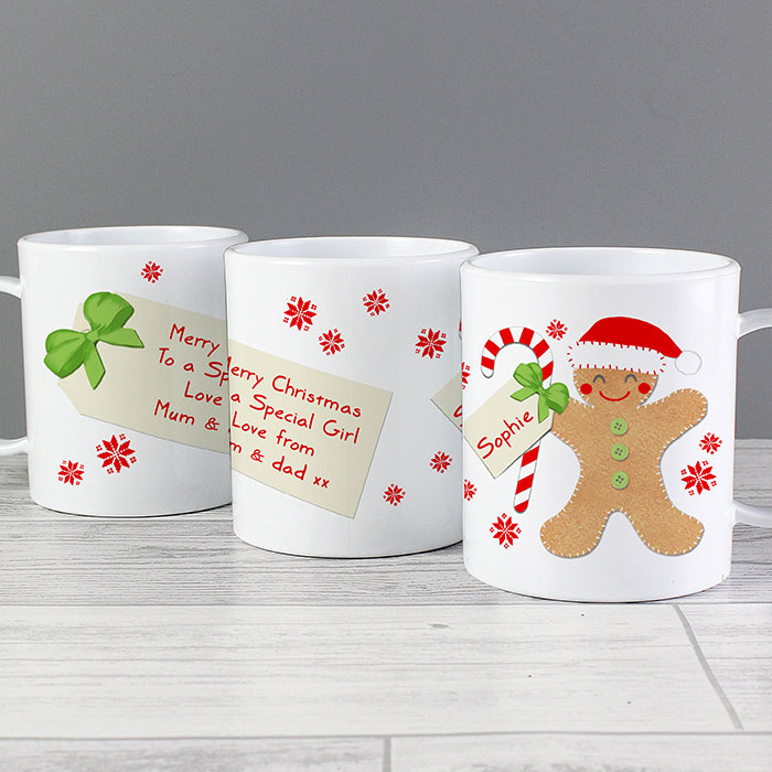 Felt Stitch Gingerbread Man Personalised Plastic Mug