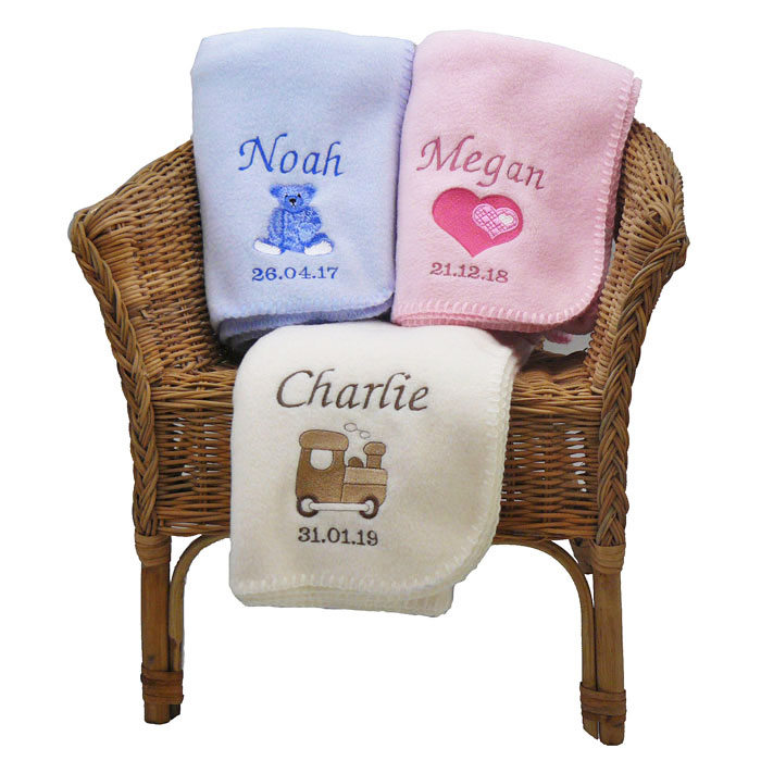Personalised Newborn Baby Blanket in Pink Blue or Cream