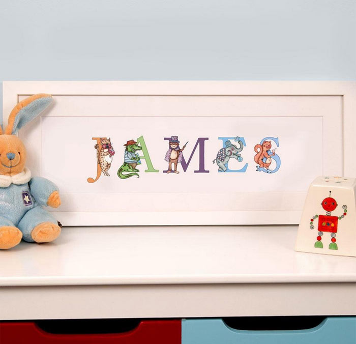 Premium Personalised Illustrated Childrens Name Frame