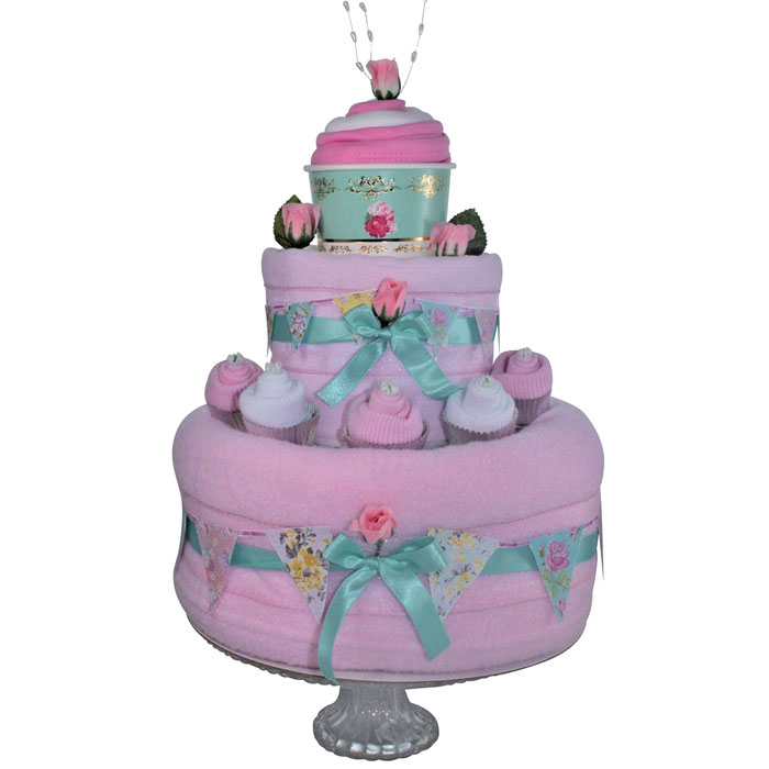 Pink Baby Girls Vintage Tea Party Nappy Cake Gift