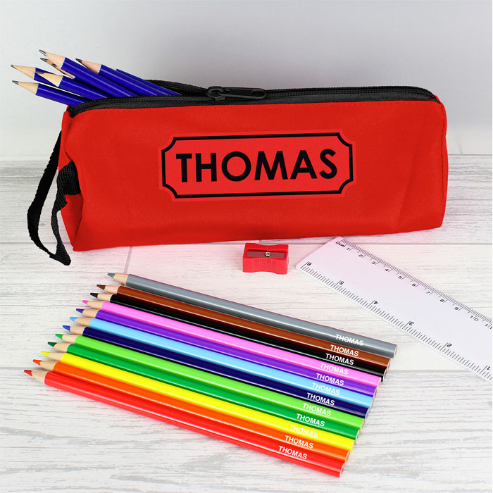 Personalised Red Pencil Case and Pencils