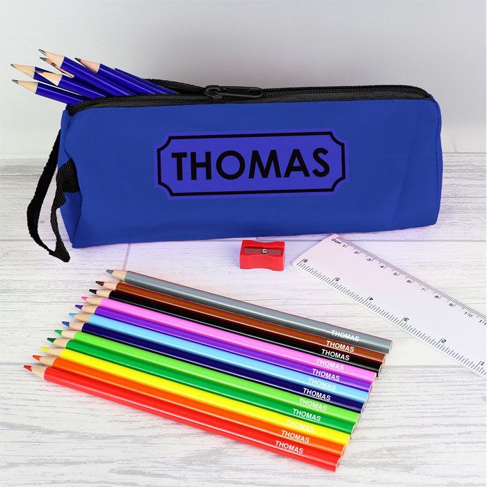 Personalised Blue Pencil Case and Pencils