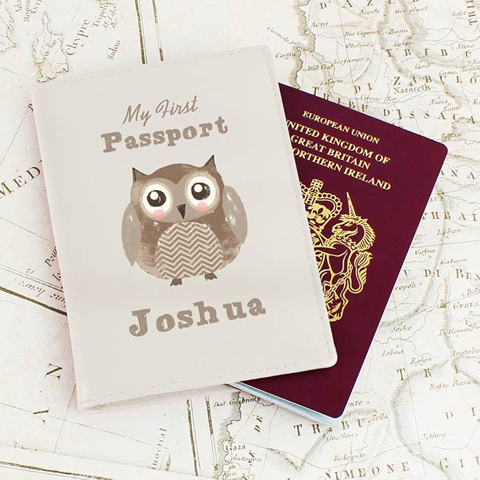 Personalised Cute Owl Cream Leather Passport Holder
