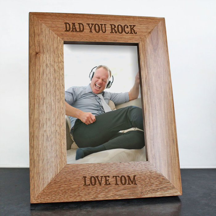 Personalised Dad You Rock Engraved Photo Frame