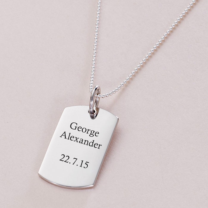 Sterling Silver Engraved Dog Tag Necklace