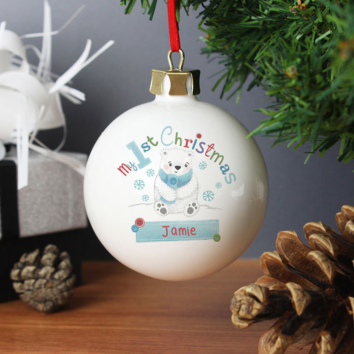 Polar Bear My 1st Christmas Personalised Bauble