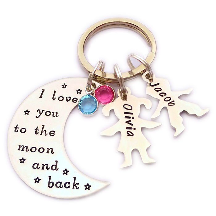 Love You to the Moon and Back Hand Stamped Keyring