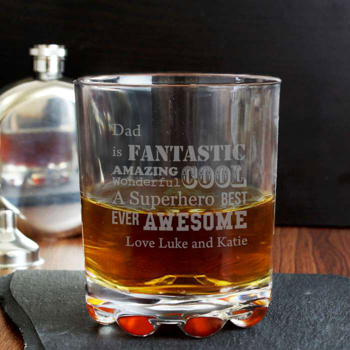 Personalised He Is Engraved Whisky Glass
