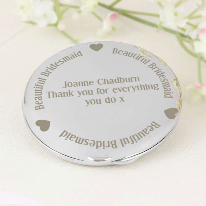 Beautiful Bridesmaid Personalised Compact Mirror