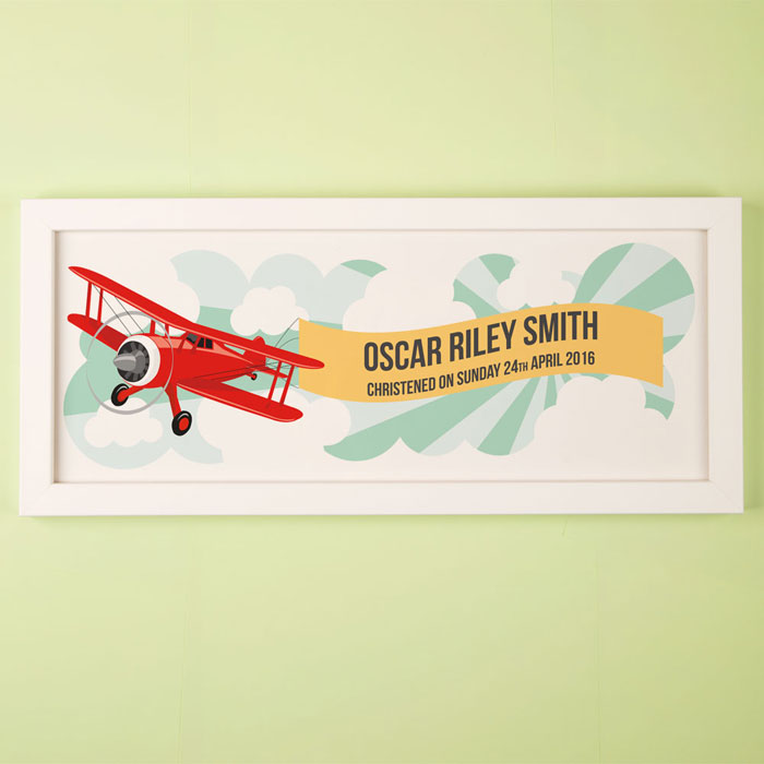 Large Childs Aeroplane Personalised Framed Print