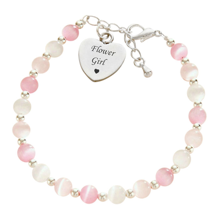 Flower Girl or Bridesmaid Bracelet and Engraved Silver Heart