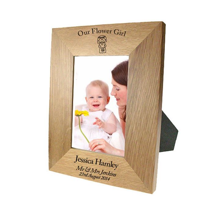 Personalised Solid Oak Portrait Flower Girl Photo Frame