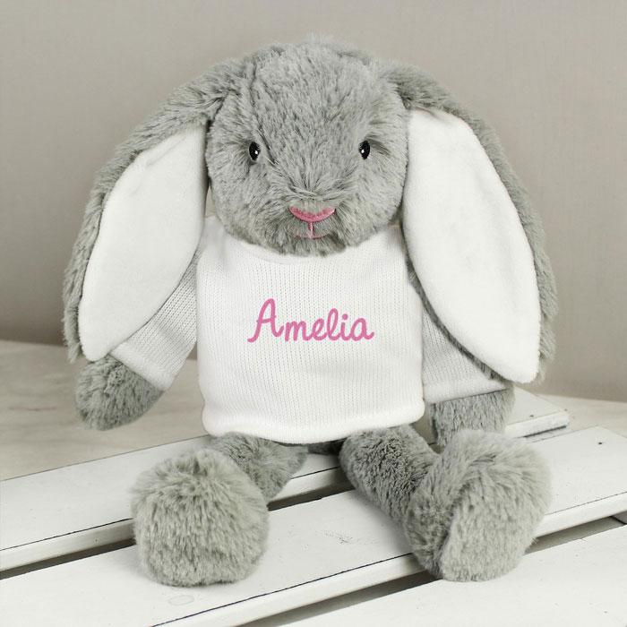 Personalised Pink Name Bunny Girls Easter Gift