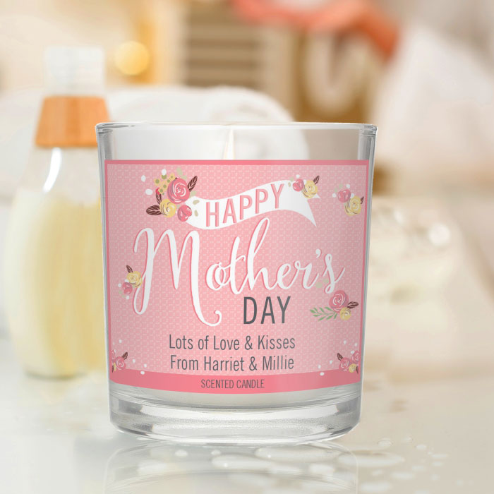 Personalised Floral Bouquet Mothers Day Scented Jar Candle