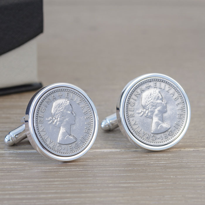Personalised Silver Plated Lucky Sixpence Cufflinks