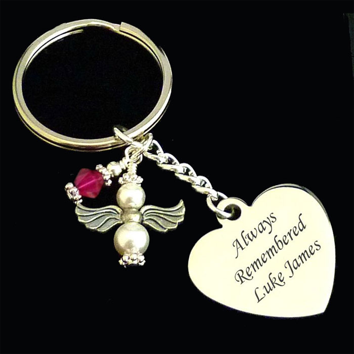 Engraved Memorial Keyring with Birthstone and Pearl Angel