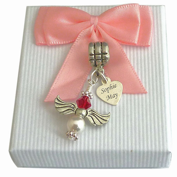 Swarovski Birthstone Angel Memorial Charm and Engraved Heart