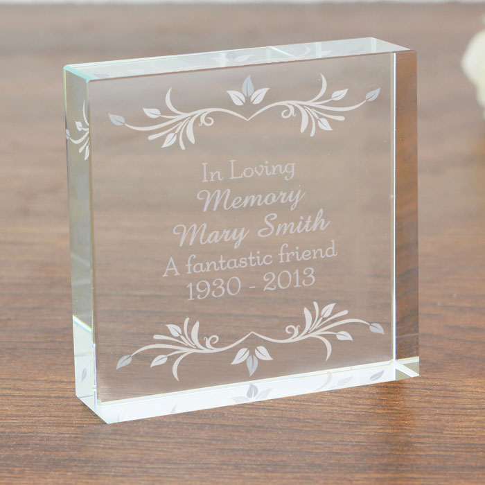 Personalised Sentiments Large Crystal Remembrance Token