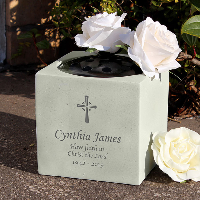 Personalised Cross Memorial Graveside Vase