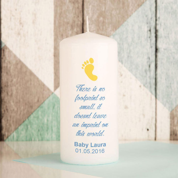 Personalised Footprint Baby Memorial Pillar Candle