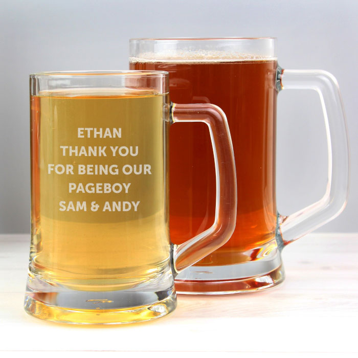 Personalised Half Pint Glass Page Boy Tankard Thank You Gift