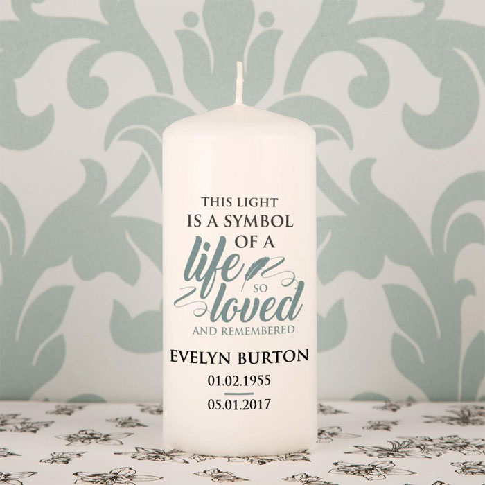 Personalised A Life So Loved Memorial Candle