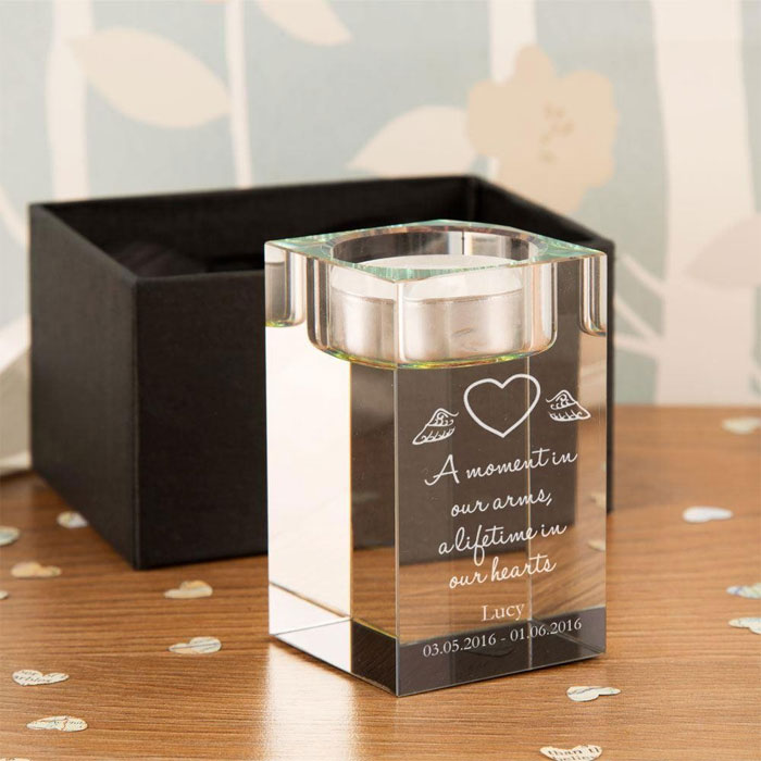 Personalised Heart with Wings Baby Memorial Tealight Holder