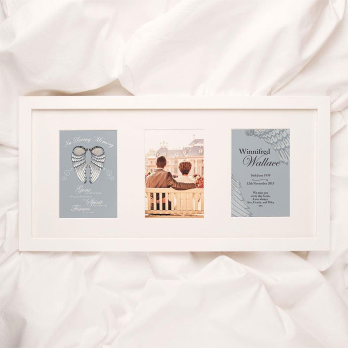 Personalised Angel Wings Memorial 3 Aperture Print and Frame