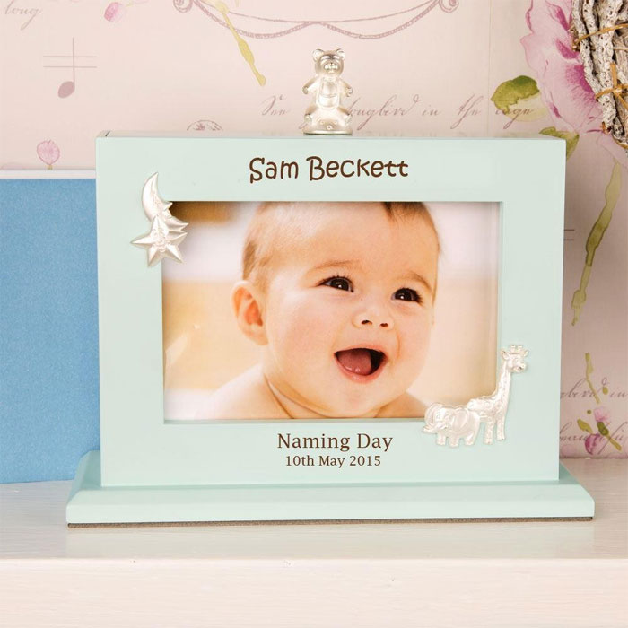 Personalised Boys Naming Day Blue Photo Album and Frame
