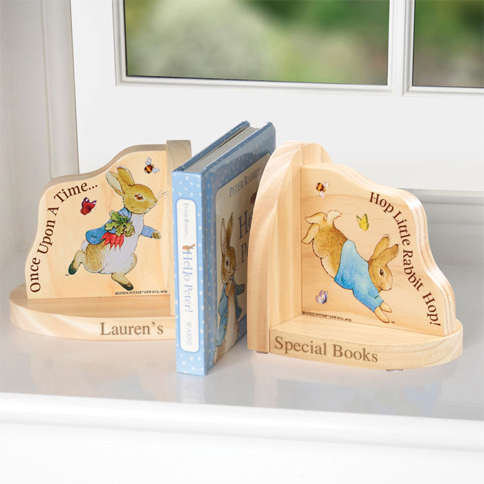 Personalised Peter Rabbit Wooden Book Ends